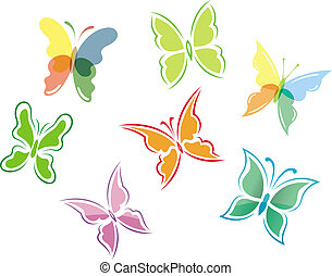 Butterfly symbols and icons
