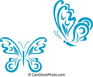 Butterfly tattoo - Isolated tattoos of butterfly on white...