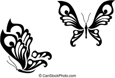 Butterfly tattoo - Isolated butterfly tattoos in tribal...