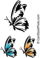 butterfly tattoo vector illustration 1