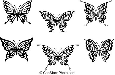 Set of black butterflyes for tattoo or embellishments