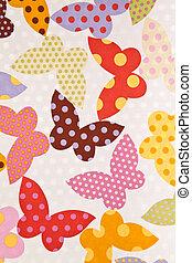butterfly., tecido, papel parede, experiência.