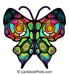 Butterfly. The multi-colored, painted butterfly. Insect illustration