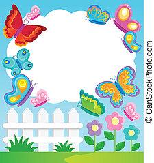Butterfly theme frame 1 - vector illustration.