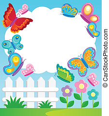 Butterfly theme frame 1 - vector illustration.
