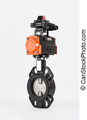 Butterfly Valves, Limit switch box on white backround