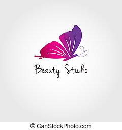 Butterfly. Vector design concept for beauty salon or studio. Vector logo template