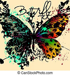 Butterfly vector design with colorful wings and florals.eps