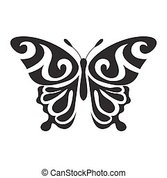 Graphic icon of butterfly. Butterfly tattoo isolated on white background. Vector