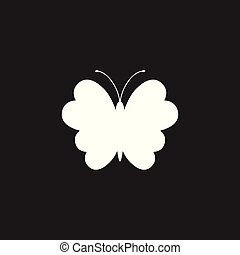Butterfly vector icon. Silhouette of a butterfly illustration.