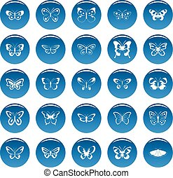 Butterfly vector icons set blue, simple style
