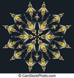 butterfly., vector, insecten, isolated., spotprent, fantastisch, cyberpunk, illustratie, fantasie
