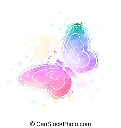 butterfly, watercolor background