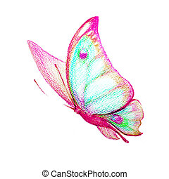 butterfly, watercolor, isolated on a white