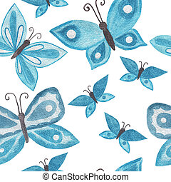 Butterfly watercolor seamless background