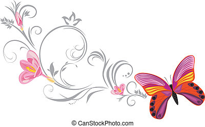 Bright butterfly with a ornamental blooming sprig. Vector illustration