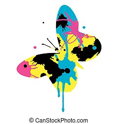 Butterfly with CMYK print colors.