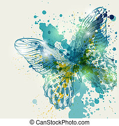 Butterfly with colorful spots, vector illustration.Eps10.