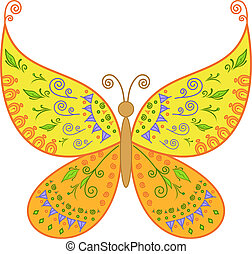 Butterfly with floral pattern