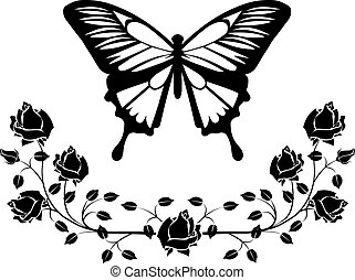 butterfly with flourishes