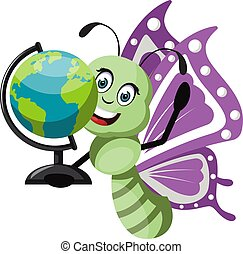 Butterfly with globe, illustration, vector on white background.