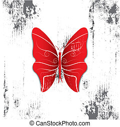 butterfly with grunge background