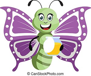 Butterfly with honey, illustration, vector on white background.