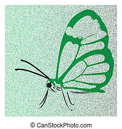 butterfly with open wings green