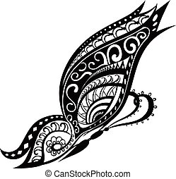 Butterfly with ornaments in Polynesian style - Pattern...