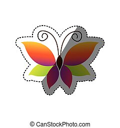 butterfly with tricolor wings icon, vector illustraction ...