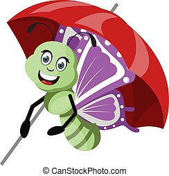 Butterfly with umbrella, illustration, vector on white background.