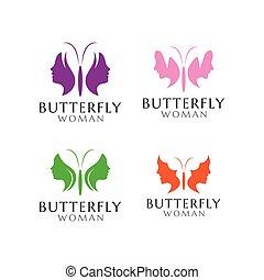 Butterfly woman logo design template