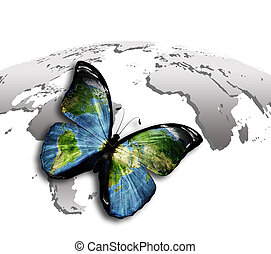 butterfly with a world map on the wings against the gray map