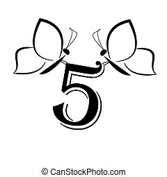 Butterflys with number five