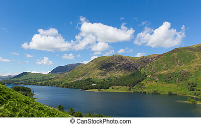 Buttermere English Lake District Cumbria England uk on a beautiful sunny summer day surrounded by fells