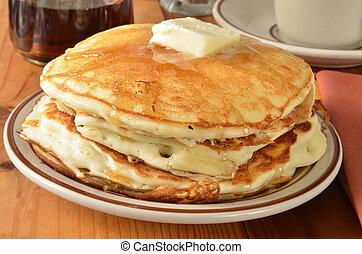 Buttermilk pancakes closeup - Closeup of buttermilk pancakes...