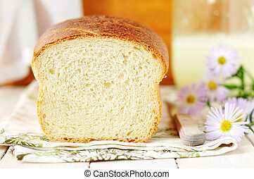 Buttermilk white bread cut, copy space for your text