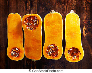 butternut squash overhead photo of four halves