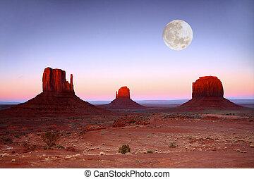 buttes, arizona, coucher soleil, vallée, monument