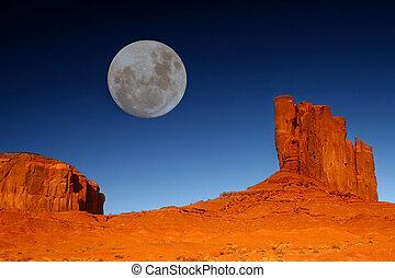 buttes, arizona, lune, vallée, monument