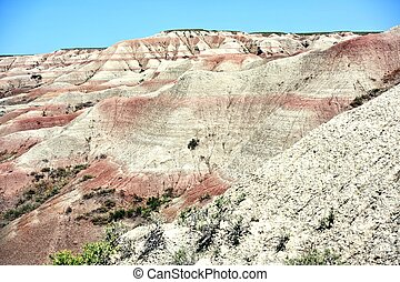 Buttes in the Badlands. Sandy Eroded Buttes in the Badlands National Park, South Dakota, USA. Nature Photo Collection.
