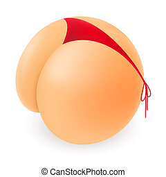 Funny Cartoon But and a Red Thong. Illustration on white background
