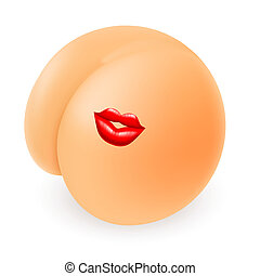 Funny Cartoon Buttock with Kiss. Illustration on white background