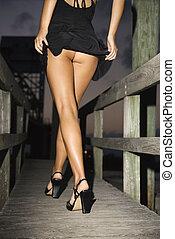 buttocks., mostrando, mulher