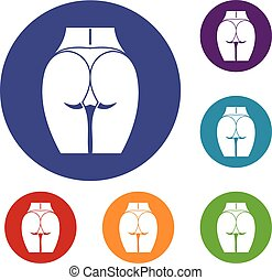 Buttocks of girl icons set