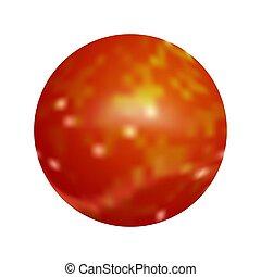 button., ベクトル, illustration., 赤, ラウンド