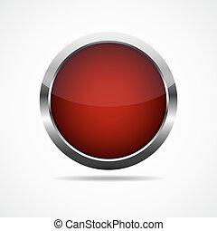 button., ラウンド, illustration., 赤