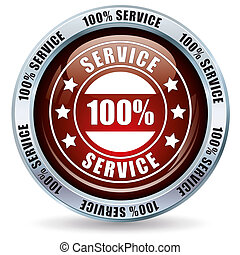 Button 100% Service on white background.