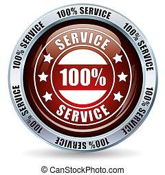 Button 100% Service on white background.