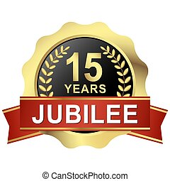 button 15 years jubilee - gold button with red banner for 15...